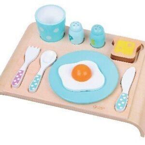 Детски дървен комплект закуска - син - Детски играчки - Кухни за игра - комплекти и консумативи - Дървени играчки