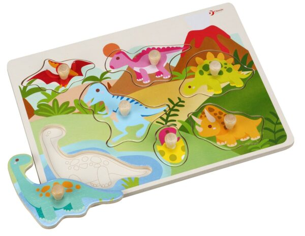 Детски дървен пъзел с фигурки - динозавъри - Детски играчки - Пъзели - Дървени играчки - Пъзели