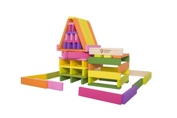 Детски дървен строител - 100 части - Детски играчки - Пъзели - Дървени играчки