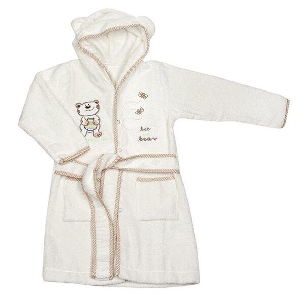 Детски халат с качулка - мече бял - За бебето - Детски и бебешки аксесоари за баня - Хавлии и кърпи за баня