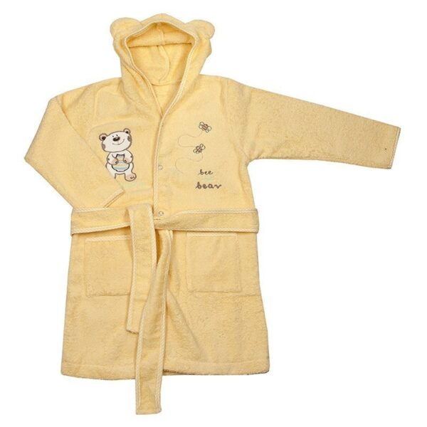 Детски халат с качулка - мече екрю - За бебето - Детски и бебешки аксесоари за баня - Хавлии и кърпи за баня