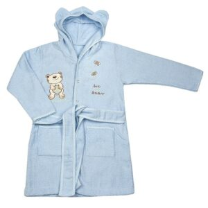 Детски халат с качулка - мече син - За бебето - Детски и бебешки аксесоари за баня - Хавлии и кърпи за баня