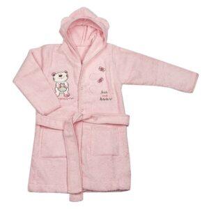 Детски халат с качулка - мече светло розов - За бебето - Детски и бебешки аксесоари за баня - Хавлии и кърпи за баня