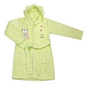 Детски халат с качулка - мече светло зелен - За бебето - Детски и бебешки аксесоари за баня - Хавлии и кърпи за баня