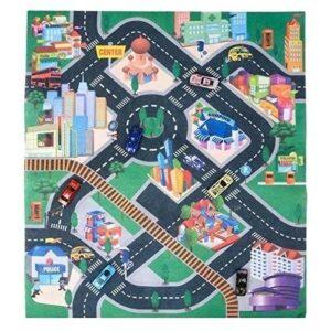 Детски килим за игра - Градски център с 6 колички - Детски играчки - Детски килими за игра