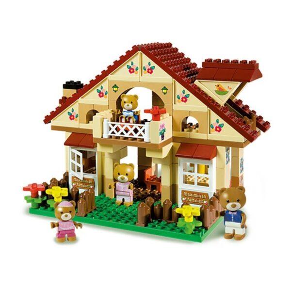 Детски конструктор - двуетажна хижа, Unico - Детски играчки - Конструктори