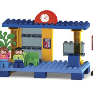 Детски конструктор - влакче с релси и жп гара Unico - Детски играчки - Конструктори