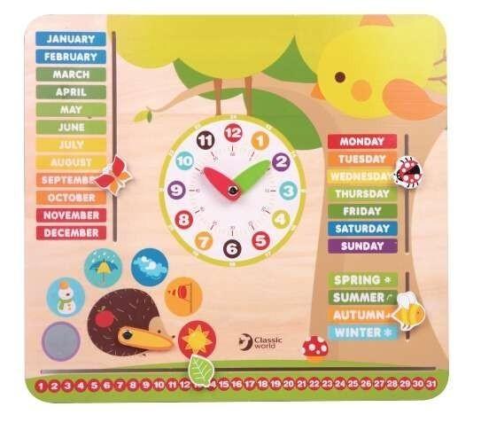 Детски образователен календар с часовник - Детски играчки - Образователни играчки - Дървени играчки