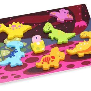 Детски пъзел от дърво с динозаври - Детски играчки - Пъзели - Дървени играчки - Пъзели