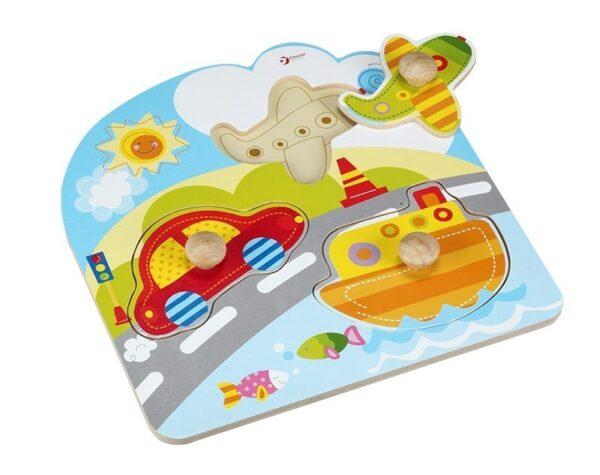 Детски пъзел с превозните средства - Детски играчки - Пъзели - Дървени играчки - Пъзели