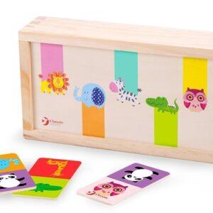 Детско дървено домино с животни - Детски играчки - Образователни играчки - Дървени играчки
