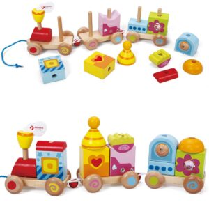 Детско дървено влакче за дърпане в пъстри цветове - Детски играчки - За дърпане и бутане - Дървени играчки