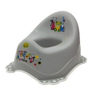 Детско гърне Little Bears & friends с гумирана основа сиво - За бебето - Детска и бебешка тоалетна - Гърнета