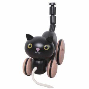 Детско коте - играчка за дърпане, черно - Детски играчки - Дървени играчки