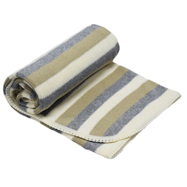 Детско одеяло на райе екрю - За бебето - Аксесоари за детска стая - Завивки / Одеяла