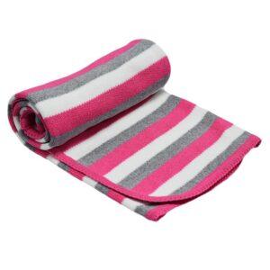 Детско одеяло на райе розово - За бебето - Аксесоари за детска стая - Завивки / Одеяла