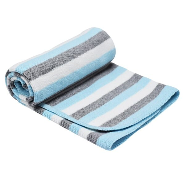 Детско одеяло на райе тюркоаз - За бебето - Аксесоари за детска стая - Завивки / Одеяла