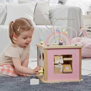 Дидактически куб за деца - розов - Детски играчки - Дървени играчки