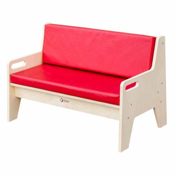 Двуместна детска тапицирана пейка - Мебели и играчки за детски градини и центрове - Мебели за детски градини и центрове