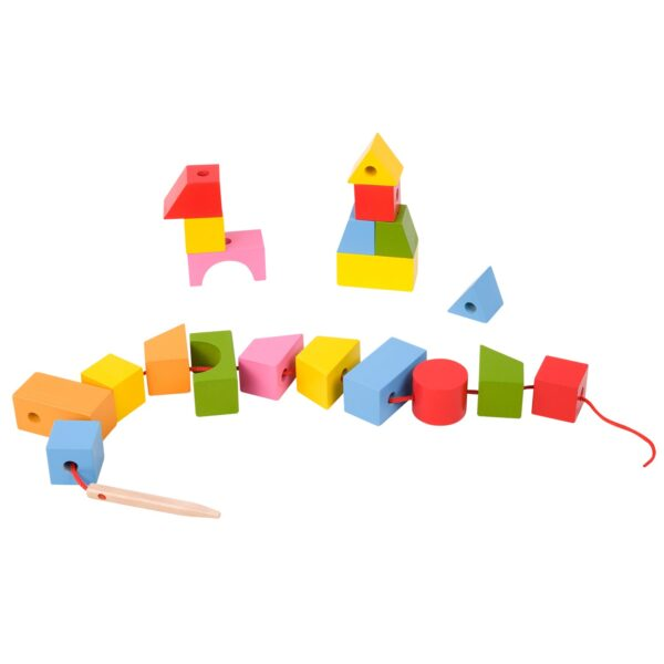 Геометрични блокчета за нанизване - Детски играчки - Образователни играчки - Дървени играчки