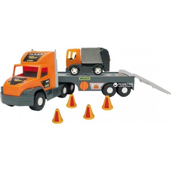 Гигантски камион играчка с ремарке и малко камионче - Детски играчки - Детски камиончета и коли