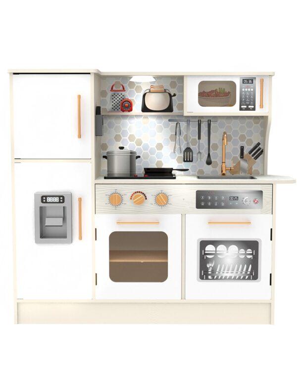 Голяма дървена кухня за игра, бяла - Детски играчки - Кухни за игра - комплекти и консумативи - Дървени играчки