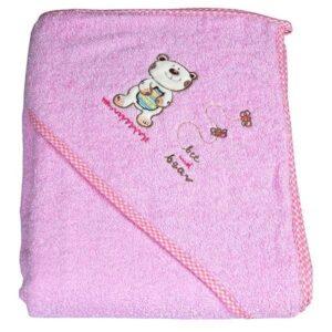 Хавлия за деца с качулка - мече светло розова - За бебето - Детски и бебешки аксесоари за баня - Хавлии и кърпи за баня
