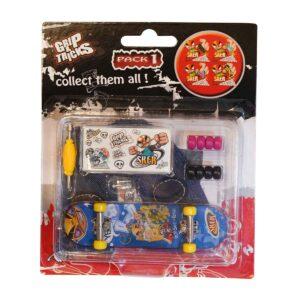 Играчка за пръсти Skateboard, син, с емоджи - Детски играчки - Играчки за пръсти - Фингърбордове