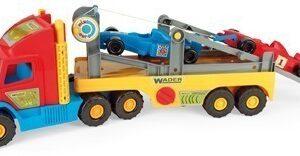 Камион с рампа и коли от Формула 1 - Детски играчки - Детски камиончета и коли