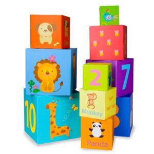 Картонени кубчета за подреждане - Детски играчки - Образователни играчки - Дървени играчки