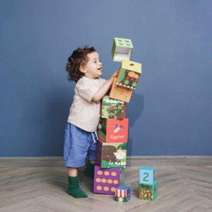 Картонени кубчета за редене - зеленчуци - Детски играчки - Дървени играчки