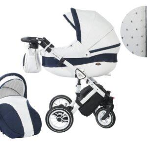 Количка Baby Merc 2 в 1 модел Style бяла с тъмно синьо - Бебешки колички - Комбинирани бебешки колички 2 в 1