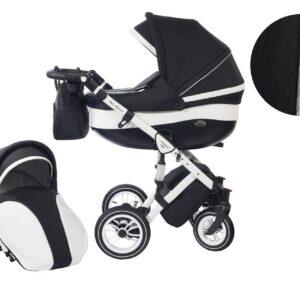Количка Baby Merc 2 в 1 модел Style черна с бяло - Бебешки колички - Комбинирани бебешки колички 2 в 1
