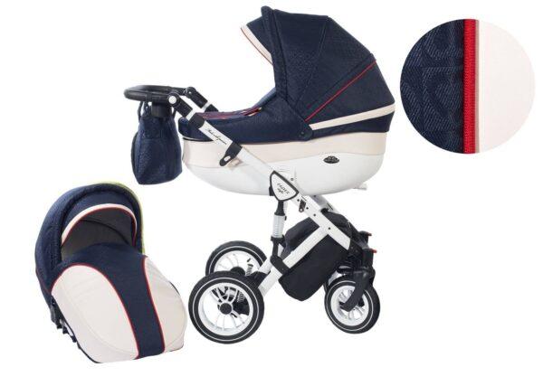 Количка Baby Merc 2 в 1 модел Style морско синьо с кремаво - Бебешки колички - Комбинирани бебешки колички 2 в 1
