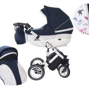 Количка Baby Merc 2 в 1 модел Style тъмносиня с бяло - Бебешки колички - Комбинирани бебешки колички 2 в 1