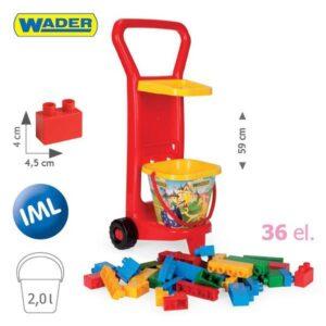 Количка с конструктор и кофичка - червена - Детски играчки - Конструктори
