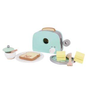 Комплект дървен тостер за игра - син - Детски играчки - Дървени играчки