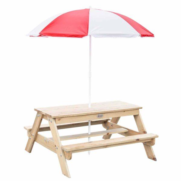Комплект детска дървена пейка с маса за игра на открито - Мебели и играчки за детски градини и центрове - Игри на открито
