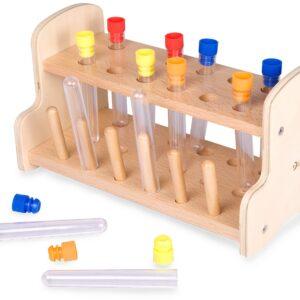 Комплект детски епруветки с дървена поставка - Детски играчки - Образователни играчки - Дървени играчки