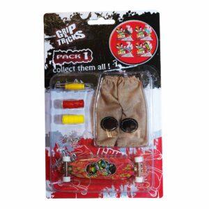 Комплект играчка за пръсти LONG BOARD, червен, с емоджи - Детски играчки - Играчки за пръсти - Фингърбордове