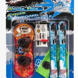 Комплект играчки за пръсти Сноуборд и Ски, червен и син - Детски играчки - Играчки за пръсти - Фингърбордове
