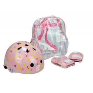 Комплект каска, наколенки и налакътници за момиче- розов - Играчки за навън - Протектори - каски, налакътници, наколенки