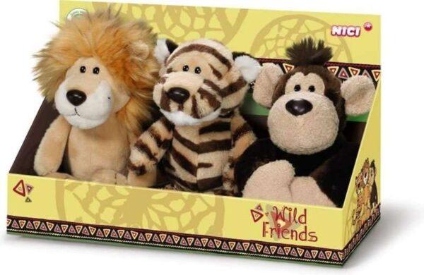 Комплект плюшени играчки - Лъв, Тигър, Маймуна - Детски играчки - Плюшени играчки