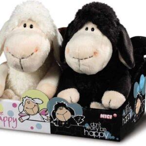 Комплект плюшени играчки - овците Джоли, бяла и черна, 20 см - Детски играчки - Плюшени играчки