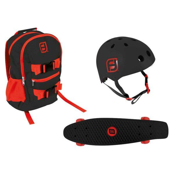 Комплект раница + каска + скейтборд, Funbeе черен/червен - Играчки за навън - Скейтборд за деца - Протектори - каски, налакътници, наколенки