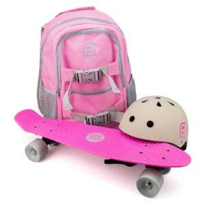 Комплект раница + каска + скейтборд, Funbeе розов/ сив - Играчки за навън - Скейтборд за деца - Протектори - каски, налакътници, наколенки