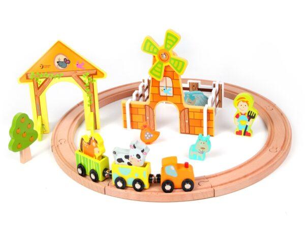 Комплект за игра - фермерско влакче - Детски играчки - Конструктори - Дървени играчки