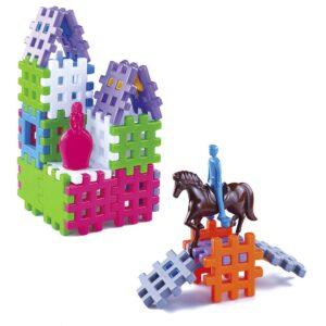 Конструктор вафлени блокчета + конче и фигурка - Детски играчки - Конструктори