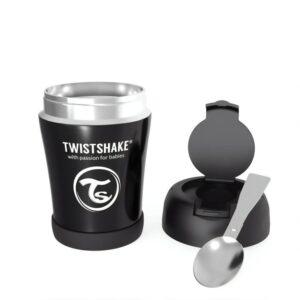 Контейнер за храна от неръждаема стомана Twistshake 6+ месеца черен - За бебето - Хранене - Прибори за хранене на бебета