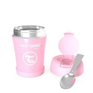 Контейнер за храна от неръждаема стомана Twistshake 6+ месеца розов - За бебето - Хранене - Прибори за хранене на бебета